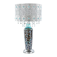 "24.25"" Gloria's Crystal Beaded Table Lamp With Mosaic Base, Turquoise"