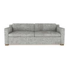 Mercer 8' Crushed Velvet Sofa Silver Streak Classic Depth