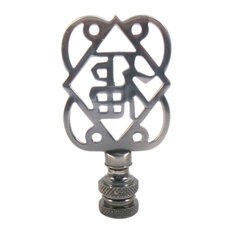Lamp Finials, Pewter Finish Asian Symbol