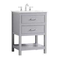 Elegant Decor Sinclaire 24-inch Single Quartz Top Bathroom Vanity In Gray