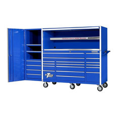 Blue 17 Drawer Tool Cabinet, Triple Bank Hutch & Side Cabinet