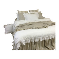 White Linen Duvet Cover with Country Ruffles, Full/Queen 3-Piece Set