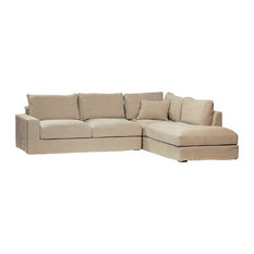 Unknown   Contemporary Linen L Shaped Sofa   Sofas