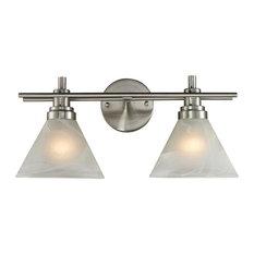 Elk Lighting Pemberton 2-Light Vanity, Brushed Nickel and Marbelized White Glass