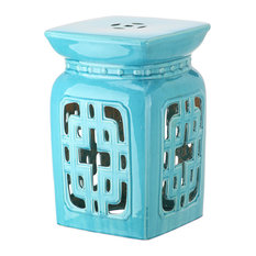 Safavieh Beijing Filigree Garden Stool, Light Blue
