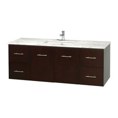 "Centra 60"" Espresso Single Vanity, Countertop, Undermount Square Sink, No Mirror"