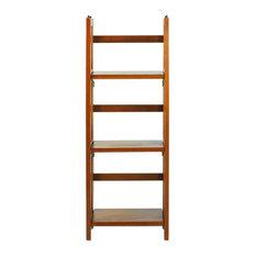 """3-Shelf Folding Bookcase 14"""" Wide, Honey Oak"""