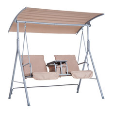 Outsunny 2 Person Porch Covered Swing Outdoor with Table and Storage - Beige