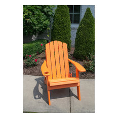 Country Classic Poly Folding Adirondack Chair With Cup Holder, Tangerine