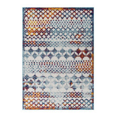 Vintage Abstract Diamond Moroccan Trellis 5x8 Indoor and Outdoor Area Rug