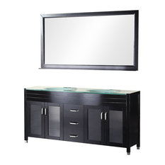 "60"" Modern Double Sink Bathroom Vanity, Espresso"