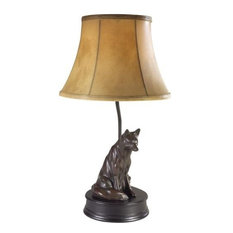 Sculpture Table Lamp Waiting Fox Hand Painted USA Made OK Casting