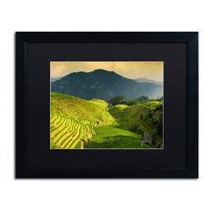 "Philippe Hugonnard 'Sunset Rice I' Art, Black Frame, Black Matte, 20""x16"""