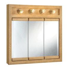 "Design House 530600 30"" Framed Triple Door Mirrored Medicine - Wood"