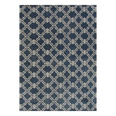 Moroccan Scroll Tile Indigo Blue Handmade Persian Style Wool Area Rug