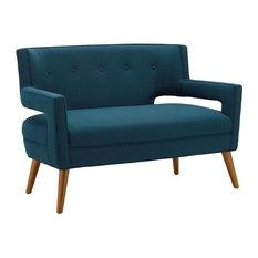 Sheer Upholstered Loveseat, Azure