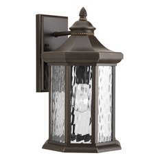 1-Light Large Wall Lantern, Antique Bronze With Water Panels