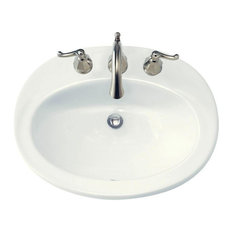 "American Standard 478.803 Piazza 23-1/2"" Drop In Porcelain Bathroom Sink, White"