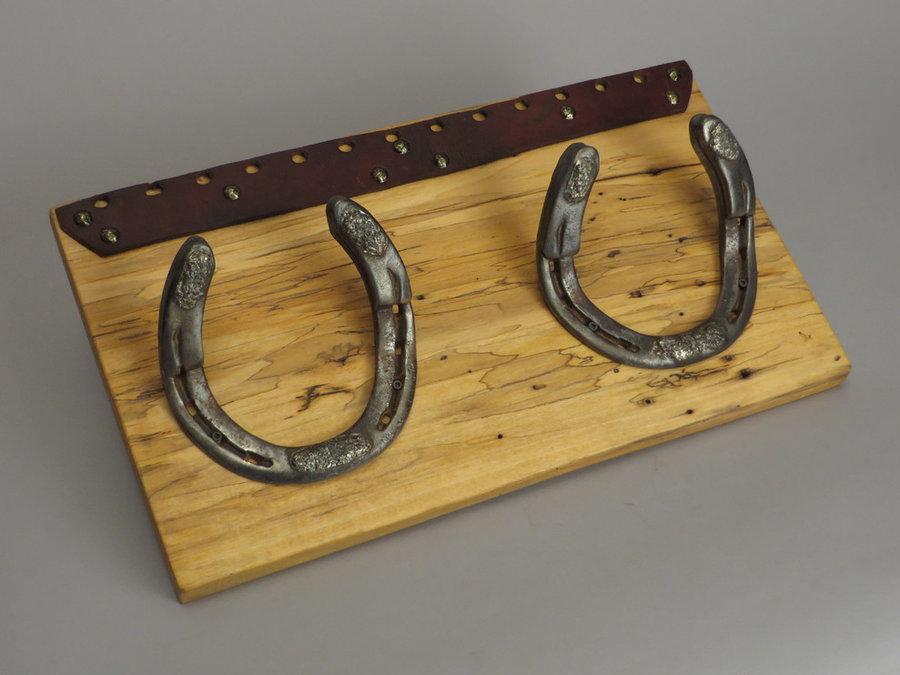 #R15002 Coat Rack. Reclaimed Box Elder, horseshoes, leather.