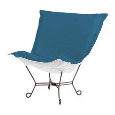 Seascape Turquoise Scroll Puff Chair, Titanium Frame