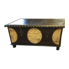 Mogul Interior   Consigned Spice Route Journey Vintage Dark Brown Trunk Coffee  Table Chest Pitara
