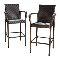 GDFStudio - Stewart Outdoor Brown Wicker Bar Stool, Set of 2 - Outdoor Bar Stools and Counter Stools