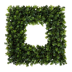 Pure Garden - Pure Garden Square Boxwood Wreath - 16.5 inch x 16.5 inch - Wreaths and Garlands