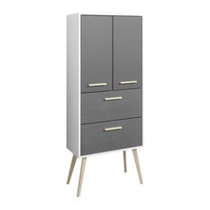 Oslo Freestanding Bathroom Cabinet, Matte Grey and Graphite Grey, Large