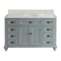"""Glennville 49"""" Cottage Bathroom Vanity Cabinet Set In Light Blue"""