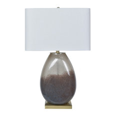 Noah 1 Light Table Lamp in Smoked And Antique Brass