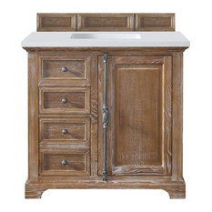 "Providence 36"" Driftwood Single Vanity w/ 3cm Snow White Quartz Top"