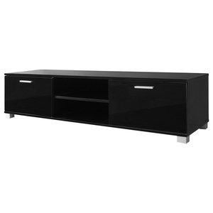 VidaXL High Gloss TV Cabinet, Black, 140 Cm