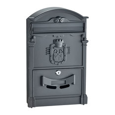 Adirhome Black Steel Ancient Castle Mailbox