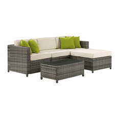 Crosley Sea Island 5-Piece Right Facing Patio Sectional Set, Gray