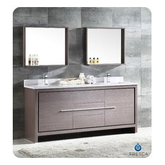 "Fresca Allier 72"" 2-Sink Vanity, Gray Oak"