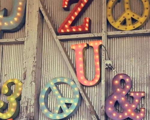 vintage lighted letters numbers and symbols home decor