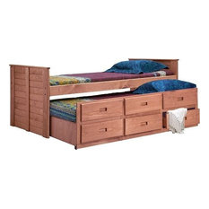 Twin Captain Bed With Twin Trundle Unit, Mahogany Stain