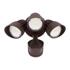 30W 3-Head Motion Activated LED Outdoor Security Light, Bronze, 3000K Warm White