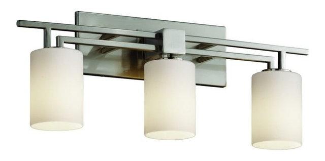 Justice Design Aero 3 Light Bath Bar, Brushed Nickel