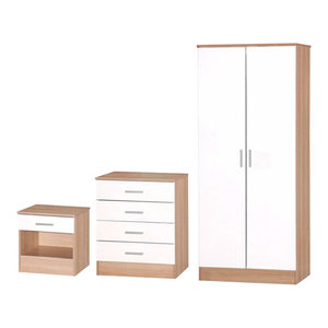 3-Piece Bedroom Furniture Set With 2-Door Wardrobe, Ruby Oak and White