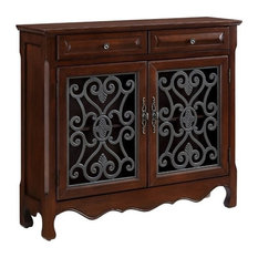 Powell Light Cherry 2-Door, 2-Drawer Scroll Console 411-254
