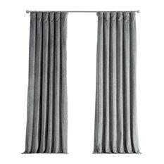 "Signature Silver Gray Blackout Velvet Curtain Single Panel, 50""x108"""