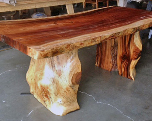 Natural live edge furniture for Tree trunk dining table