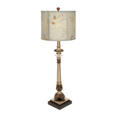 benzara woodland imprts the urban port metal buffet lamp with beige colored shade