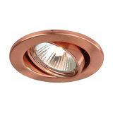 Pivotable low-volt recessed light 68, copper
