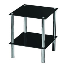 Vida Designs Glass Shelf Unit, Black, 2 Tiers