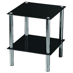 Vida Designs Glass Shelf Unit, Black, 2 Tiers