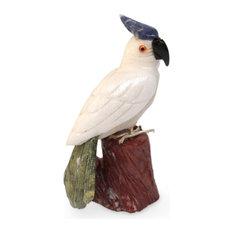 Perky Cockatoo Calcite and Garnet Sculpture