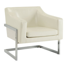 Coaster Contemporary Accent Chair With Metal Frame, White