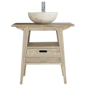 Rubberwood Bathroom Vanity Unit With Drawer, 80 cm